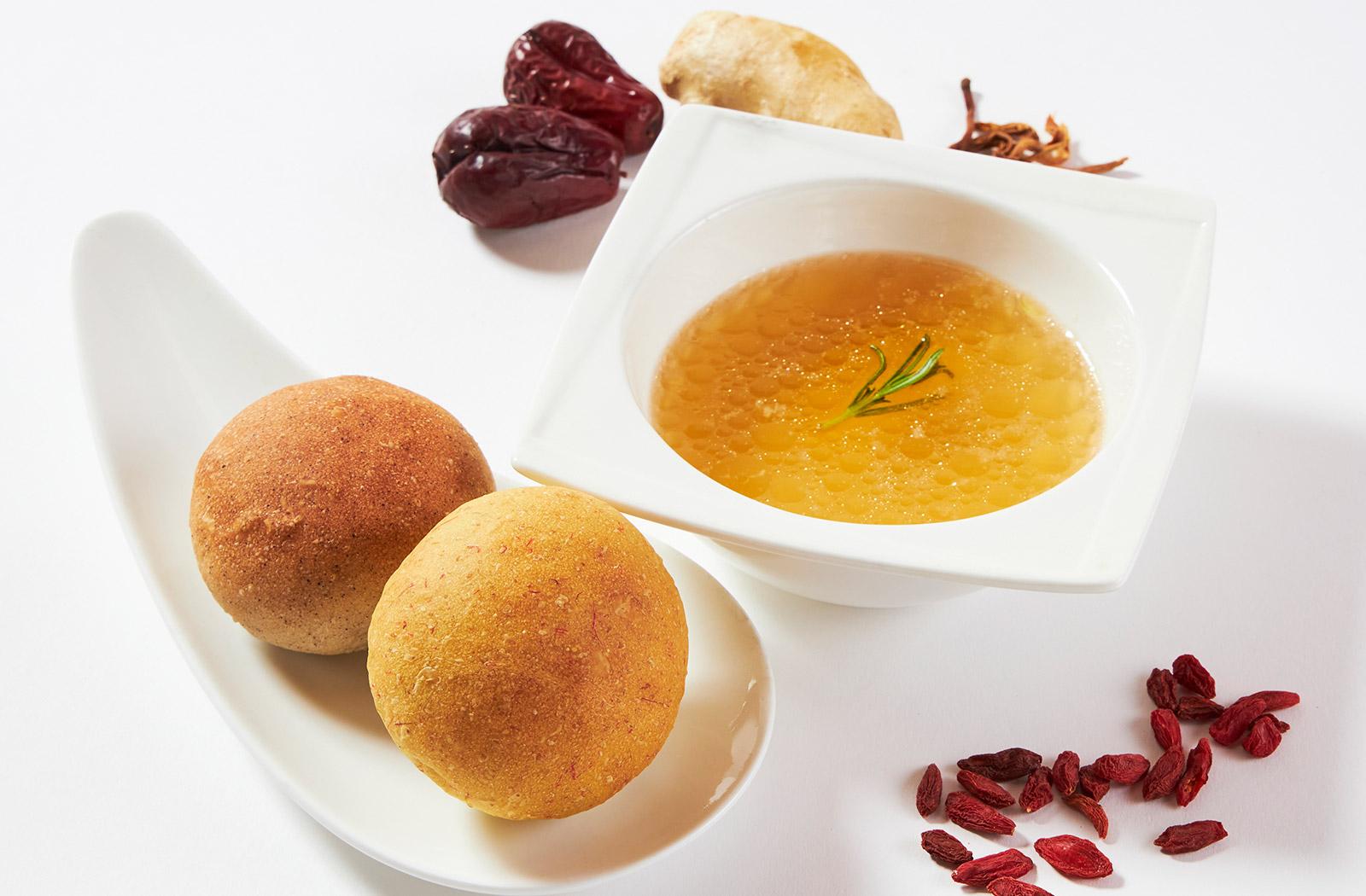香膳スープセット2食分 (黒米パン・ 紅花パン 各2個付き)